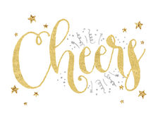Cheers!. Cheers text with stars, glitter and confetti Royalty Free Stock Photos