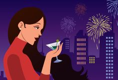 Cheers To The New Year!. An image of a young woman standing and drinking champagne while fire crackers are bursting in the night sky Royalty Free Stock Image