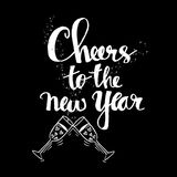 Cheers to the new year. Hand lettering inscription Royalty Free Stock Images