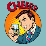 Cheers toast celebration man pop art retro style. Greeting the birthday celebrant. Drinks and alcohol. Celebration party Stock Photo