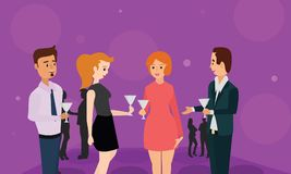Cheers toast of company partners at meeting celebrate cooperation. Royalty Free Illustration