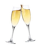 Cheers! Two champagne glasses. Isolated on white background Stock Images