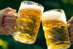 Cheers. Two glass mugs of beer Royalty Free Stock Photo