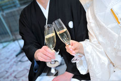 Cheers. Two people of toast, directing that enliven the ornate reception hall after the speech of the guest of honor Royalty Free Stock Images