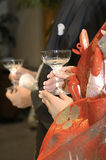 Cheers. At the wedding reception, and toast scene Stock Images