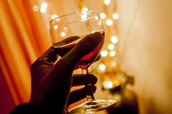Cheers with wine. Cheers with glass of rose wine Royalty Free Stock Image