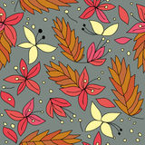 Cheery Autumn. Seamless pattern with butterflies and flowers vector illustration