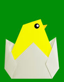 Cheery chick origami on green Royalty Free Stock Image