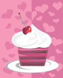 Cheery cupcake. Chocolate cake with cerries and whipped cream vector illustration