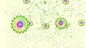 Cheery Cyber Security Cog Illustration. Cheerful 3d illustration of multishaped cyber security gear wheels of light green, yellow and violet colors in the white royalty free illustration