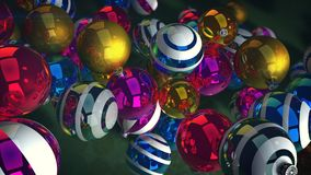 Whirling New Year Sparkling Balls. A cheery 3d illustration of shimmering glass balls for a Christmas fir tree. They swirl over a green floor and create a Royalty Free Stock Image