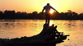 Cheery man climbs the tree roots on a lake bank in slo-mo. An inspiring view of a young man who climbs the tree roots on a forest lake bank at a splendid sunset stock footage