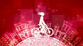 Cheery man rides an abstract bicycle. A funny 3d rendering of an abstract young man riding a white bicycle in the purple backdrop with see-through squares. The royalty free illustration
