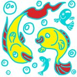 Cheery playful kids fishes. Graphical, bit psychedelic scene with playing fishes, in jpg format royalty free illustration