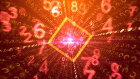 Cheery purple background of digital media. A joyful 3illustration of spinning pink and yellow numbers going through a square golden portal with glitzy plasma vector illustration