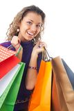 Cheery shopaholic Stock Images
