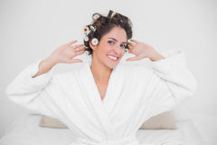 Cheery smiling brunette looking at camera Royalty Free Stock Photo