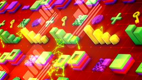Cheery Techno Symbols in Red Backdrop. Funny 3d illustration of colorful bar graphs, lines of squares, lengthy keys, large pluses, square mazes, and bright stock illustration