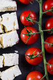 Cheery tomatoes and feta cheese Stock Photo