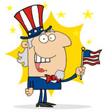 Cheery uncle sam in front of a star. Cheery uncle sam a hat and flag in front of a star vector illustration