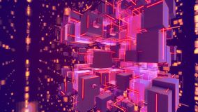 Cheery Volumetric Abstact Rosy Cubes. Wonderful 3d illustration of spinning rosy cubes with plasma looking zigzag lines in the violet background. They generate royalty free illustration