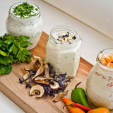Cheese cream. A mixture of cheese cream with parsley, mushrooms and peppers stock photography
