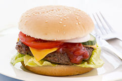 Cheesburger. Cheeseburger on a white plate isolated Royalty Free Stock Photography