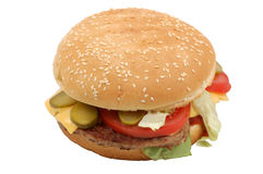 Cheesburger. Isolated over white background with clipping-path Royalty Free Stock Image