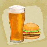 Cheesburger com fundo do grunge da cerveja Ilustração do vetor Fotografia de Stock