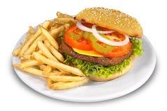 Cheesburger e fritture immagini stock