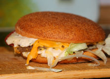The Cheesburger. On the foreground Royalty Free Stock Photos