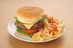 Cheesburger and fries. A thick cheeseburger with fries and catsup Stock Photos