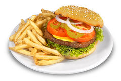 Cheesburger and Fries. Juicy Cheesburger and fries on plate Stock Images