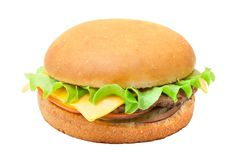 Cheesburger with lettuce salad. Isolated from background Royalty Free Stock Photos
