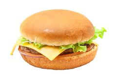 Cheesburger with lettuce salad. Isolated from background Royalty Free Stock Photo