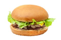 Cheesburger with lettuce salad. Isolated from background Royalty Free Stock Photography