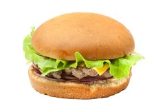 Cheesburger with lettuce salad. Isolated from background Royalty Free Stock Image