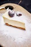 Cheescake avec la myrtille arrosée avec du sucre glace image libre de droits