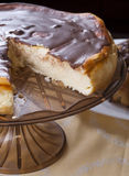 Cheescake with chocolate Stock Images
