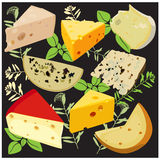 Cheese. Different types cheese on black background with verdure Royalty Free Stock Photos