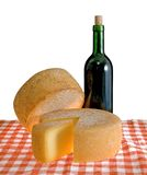 Cheese. And red wine isolated Royalty Free Stock Photos