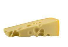 Cheese. Piece of cheese with holes in close up on white background Stock Photos