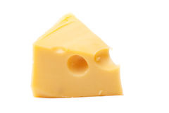 Cheese. Piece of cheese on white background closeup Royalty Free Stock Photography