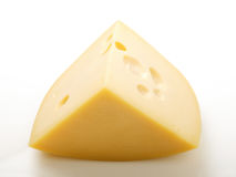 Cheese. Piece of hard swiss cheese with holes Stock Photos