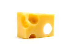 Cheese. Yellow cheese slice - isolated on white background Royalty Free Stock Photography