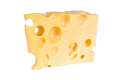 Cheese. The piece of Swiss cheese with holes on a white background is isolated Royalty Free Stock Photography