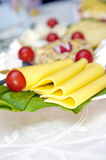 Cheese. Slices of yellow cheese on a plate with cheese collection and small tomatoes royalty free stock images