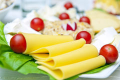 Cheese. Slices of yellow cheese on a plate with cheese collection and small tomatoes Royalty Free Stock Photo