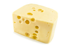 Cheese. Piece of cheese on white Stock Photo