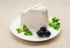 Cheese. Soft cheese  with seasonings on a white round plate with parsley and olives on a cloth Royalty Free Stock Photo